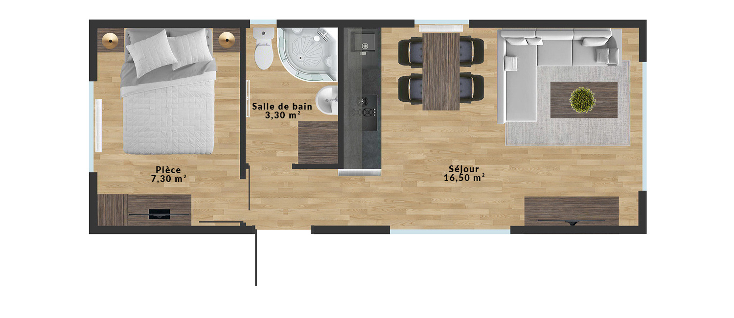 Maison mobile Muna – 9×3,5 m - Sample interior arrangement