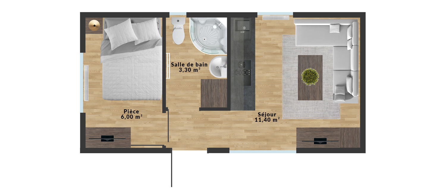 Maison mobile Tinos – 7×3,5 m - Sample interior arrangement