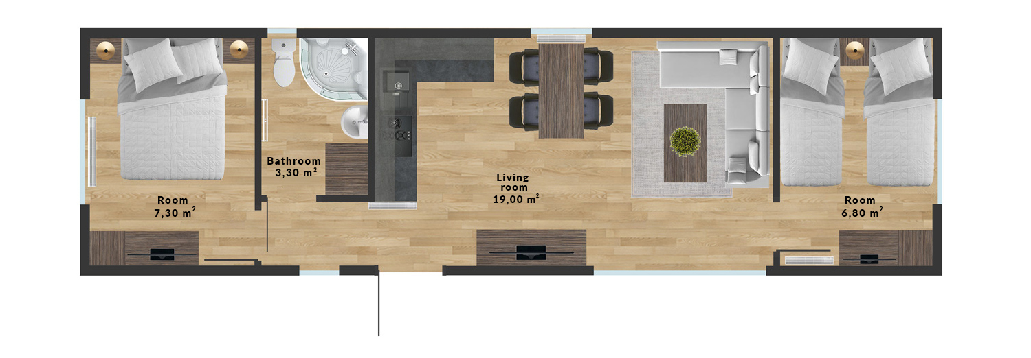 Mobile home Bahama – 12×3,5 m - Sample interior arrangement