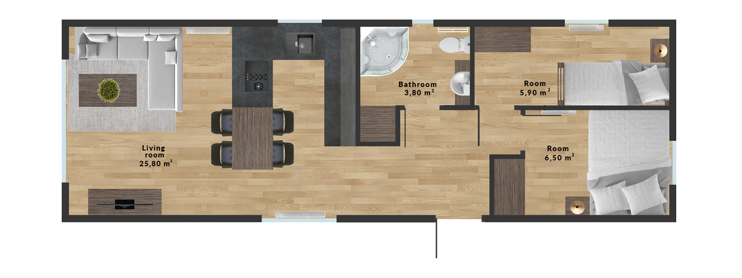Mobile home KING 4 - Sample interior arrangement