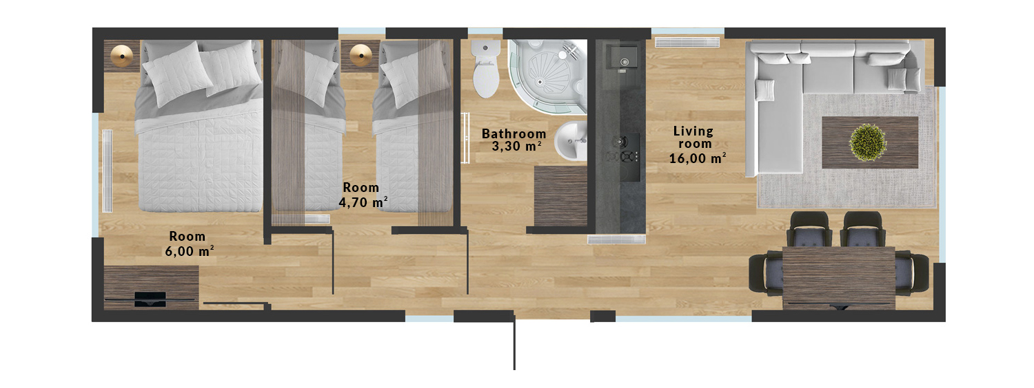 Mobile home Samos – 10×3,5 m - Sample interior arrangement